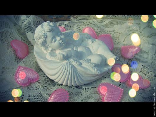 Статуэтки ручной работы. Ярмарка Мастеров - ручная работа. Купить Ангелок в ракушке.. Handmade. Белый, сувенир