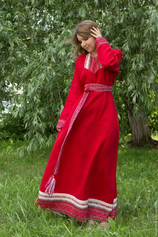 """Этническая одежда ручной работы. Ярмарка Мастеров - ручная работа. Купить Платье """"Берегиня"""" красное. Handmade. Белый, этно, акрил"""