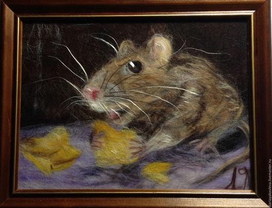 Животные ручной работы. Ярмарка Мастеров - ручная работа. Купить Картина из шерсти Три кусочка сыра. Handmade. Серый