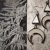handmade. Livemaster - original item Beautiful glass earrings with mother-of-pearl effect (e-015-01). Handmade.