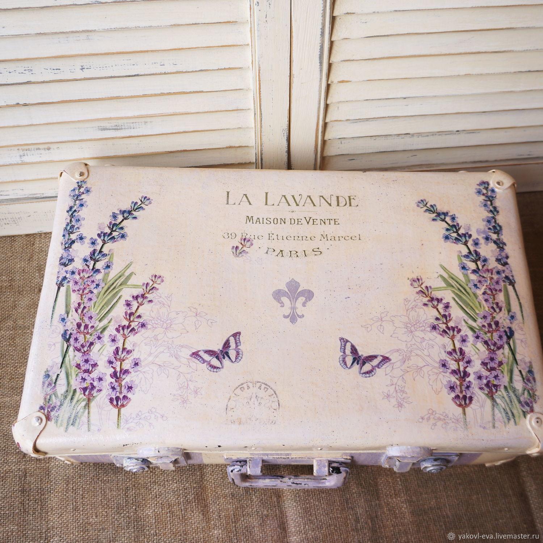 """Старый фибровый чемоданчик""""Прованс.Лаванда"""""""