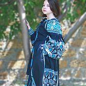 Одежда ручной работы. Ярмарка Мастеров - ручная работа Темно синее Длинное платье. Вышиванка в стиле бохо-шик. Льняное плать. Handmade.