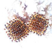 Stud earrings handmade. Livemaster - original item Beaded pousset earrings Fluffy brown 083. Handmade.