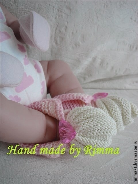 """Для новорожденных, ручной работы. Ярмарка Мастеров - ручная работа. Купить Пинетки """"Розовое сердце"""". Handmade. Розовый, пинетки, для новорожденного"""