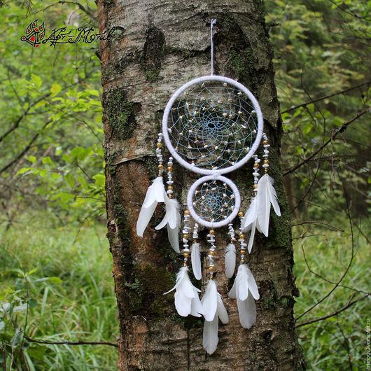 Ловец снов `Зимнее утро` с кахолонгом и голубым агатом