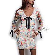 Одежда ручной работы. Ярмарка Мастеров - ручная работа Мини-платье из сетки с цветочным принтом / с белым кружевом. Handmade.