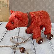 Куклы и игрушки ручной работы. Ярмарка Мастеров - ручная работа Мишка на колесиках. Handmade.