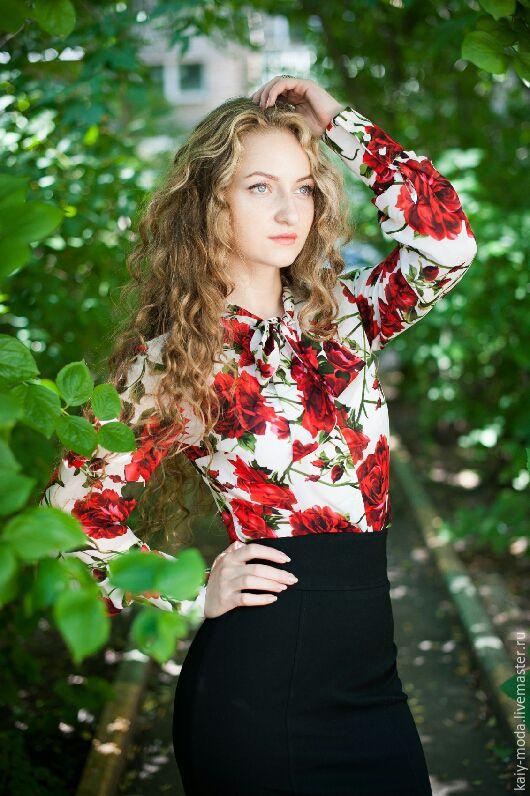 """Блузки ручной работы. Ярмарка Мастеров - ручная работа. Купить Блузка с бантом - """"Алые розы"""". Handmade. Белый, яркая блузка"""