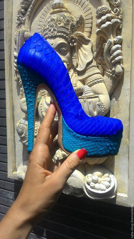 Обувь ручной работы. Ярмарка Мастеров - ручная работа. Купить Туфли из кожи питона. Handmade. Синий, туфли из кожи
