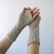 Аксессуары handmade. Livemaster - original item Women`s mittens are light beige in color.. Handmade.