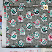 Материалы для творчества ручной работы. Ярмарка Мастеров - ручная работа Ткань мини отрез 20368  Птички в клетках (22х27см). Handmade.