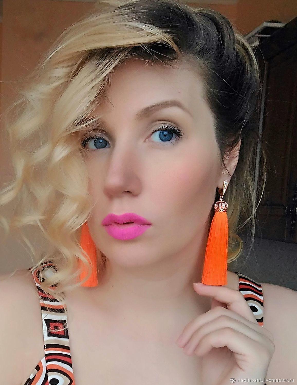 Orange Splash brush earrings rose gold, Tassel earrings, St. Petersburg,  Фото №1
