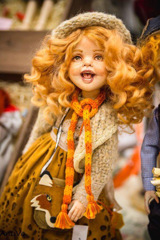 """Коллекционные куклы ручной работы. Ярмарка Мастеров - ручная работа. Купить Звуковая игровая кукла-смешинка """"Алиса"""". Handmade. Оранжевый"""