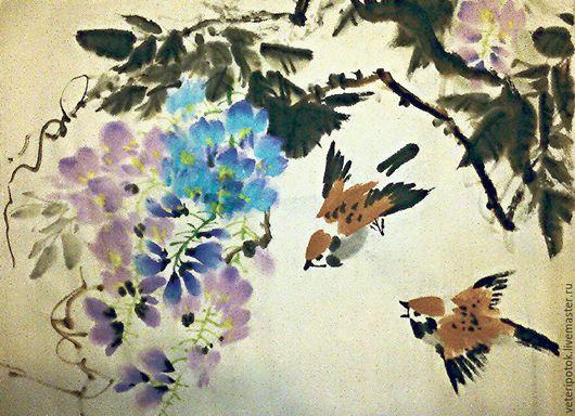 Картины цветов ручной работы. Ярмарка Мастеров - ручная работа. Купить картина на рисовой бумаге Глициния изящная и воробьи. Handmade.