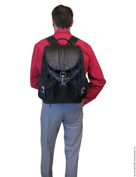 Рюкзаки ручной работы. Ярмарка Мастеров - ручная работа. Купить Рюкзак мужской кожаный вестерн «El Paso Black ». Handmade.