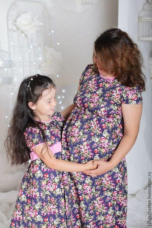 Платья ручной работы. Ярмарка Мастеров - ручная работа. Купить Платья для мамы и дочки летние, комплект. Handmade. Разноцветный