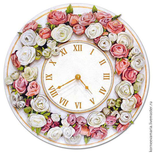 Часы для дома ручной работы. Ярмарка Мастеров - ручная работа. Купить Настенные часы «Цветочный венок». Handmade. Белый