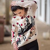 Одежда ручной работы. Ярмарка Мастеров - ручная работа женский свитер с аппликацией, свитер из альпаки. Handmade.
