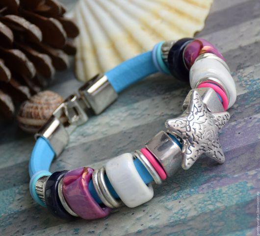 """Браслеты ручной работы. Ярмарка Мастеров - ручная работа. Купить """"Star fish-2"""" браслет в стиле Regaliz. Handmade. Голубой"""