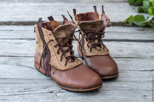 Обувь ручной работы. Ярмарка Мастеров - ручная работа. Купить Мужские кожаные ботинки Dray .. Handmade. Коричневый, мужские ботинки