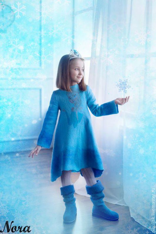 Одежда для девочек, ручной работы. Ярмарка Мастеров - ручная работа. Купить Платье валяное Эльза. Холодное сердце. Handmade. Голубой
