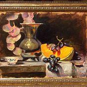 Картины и панно ручной работы. Ярмарка Мастеров - ручная работа Натюрморт с тыквой и виноградом. Handmade.