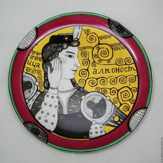 Декоративная посуда ручной работы. Ярмарка Мастеров - ручная работа. Купить фарфор декоративная тарелка «Алконост» — Серия «Птицы». Handmade.