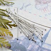 Материалы для творчества handmade. Livemaster - original item Pin with ball 50 mm 0,6 mm (pack of 10 PCs). Handmade.
