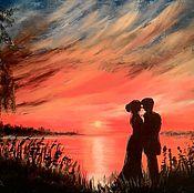 """Картины и панно ручной работы. Ярмарка Мастеров - ручная работа Картина маслом """"Любовь в контражуре"""". Handmade."""