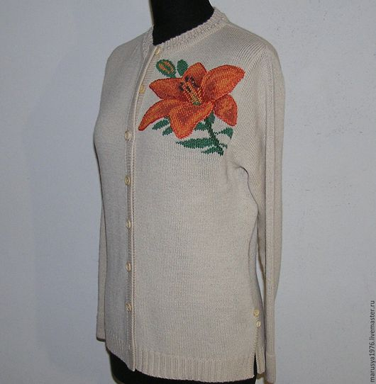 Кофты и свитера ручной работы. Ярмарка Мастеров - ручная работа. Купить Кофта с вышивкой. Тигровая лилия. Handmade. Рисунок