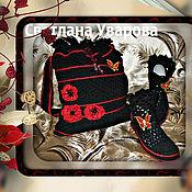 Обувь ручной работы. Ярмарка Мастеров - ручная работа Комплект: Сумочка+ Полусапожки в стиле BLACK RED Чёрно-красный, хлопок. Handmade.