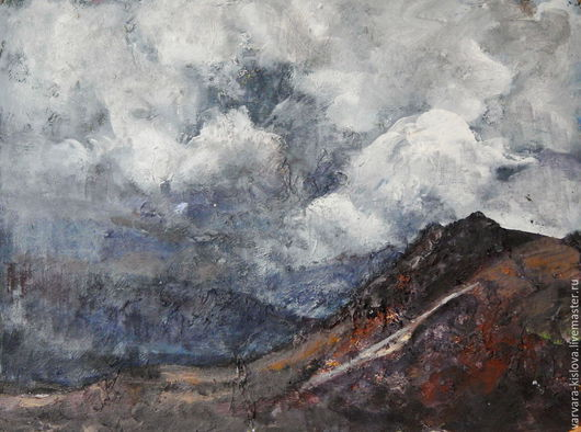 Пейзаж ручной работы. Ярмарка Мастеров - ручная работа. Купить Горные вершины. Handmade. Небо, воздух, лето, Кавказ, горы