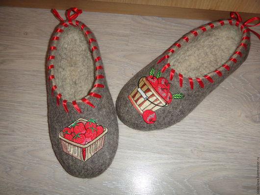 """Обувь ручной работы. Ярмарка Мастеров - ручная работа. Купить Тапочки валяные""""Фруктовый рай"""". Handmade. Серый, подарок"""