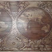 Картины и панно ручной работы. Ярмарка Мастеров - ручная работа Резное дерево_Карта Мира. Handmade.