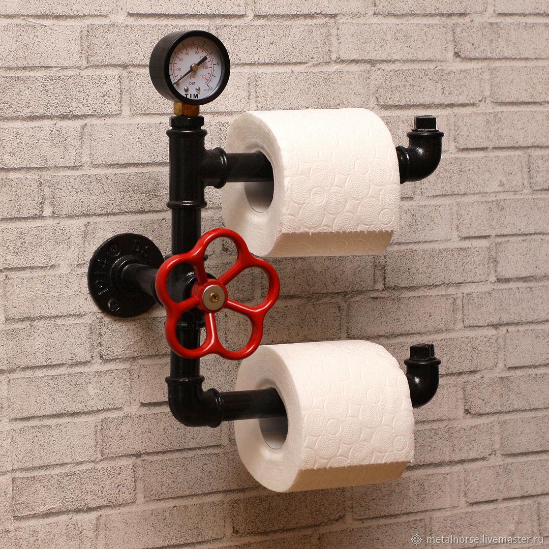 Двойной держатель туалетной бумаги в стиле лофт, индастриал, стимпанк, Ванная комната, Москва, Фото №1