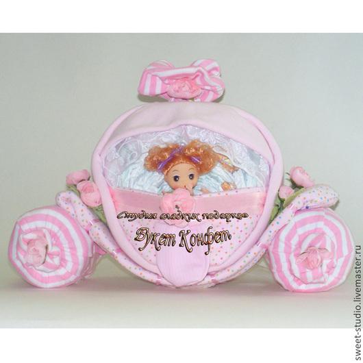 Торты из памперсов. Подарки для новорожденных. Торт из памперсов купить в Москве. Карета из памперсов.