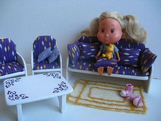 Кукольный дом ручной работы. Ярмарка Мастеров - ручная работа. Купить Кукольная мебель комплект для гостиной. Handmade. Кукольная мебель
