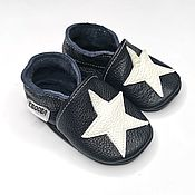 Одежда детская handmade. Livemaster - original item Baby Shoes with Stars, Baby Boy Shoes,  Black Baby Moccasins. Handmade.