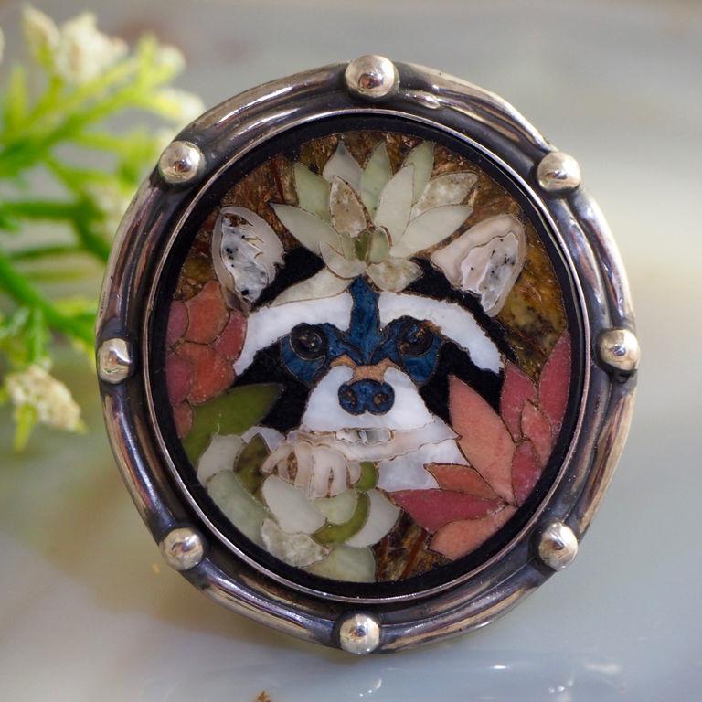 Ring 'Baby Raccoon' - Florentine mosaic, silver, Rings, Prague,  Фото №1