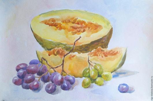 Натюрморт ручной работы. Ярмарка Мастеров - ручная работа. Купить Спелые фрукты. Handmade. Оранжевый, дыня, виноград, натюрморт с фруктами