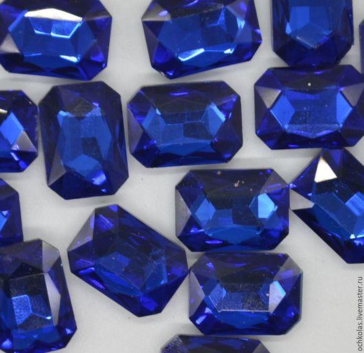 Для украшений ручной работы. Ярмарка Мастеров - ручная работа. Купить Стразы прямоугольник 18х13 мм темно-синий. Handmade.