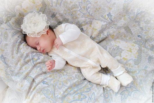 """Для новорожденных, ручной работы. Ярмарка Мастеров - ручная работа. Купить Копмплект на выписку """"Карамелька"""". Handmade. Кремовый, для новорожденной"""
