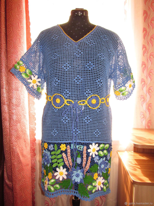 Кофты и свитера ручной работы. Ярмарка Мастеров - ручная работа. Купить Синева. Handmade. Голубой, 100% хлопок