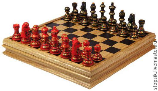Настольные игры ручной работы. Ярмарка Мастеров - ручная работа. Купить Шахматы-ларец Хохлома Презент большие (дуб, клетка 4,5 см) 33571. Handmade.