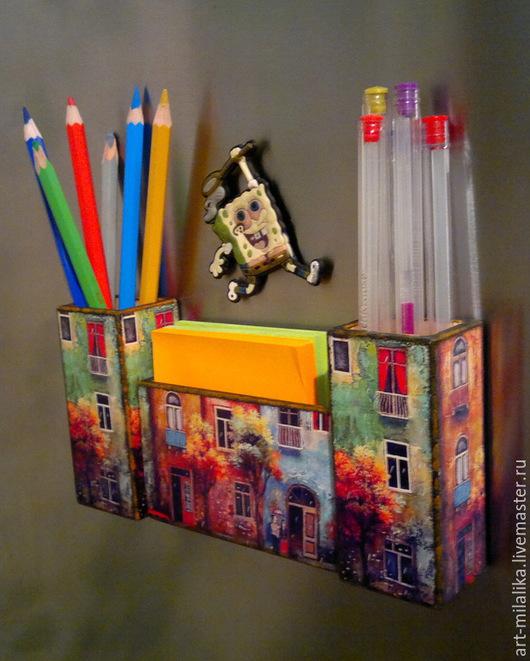 Персональные подарки ручной работы. Ярмарка Мастеров - ручная работа. Купить Магнит для ручек на холодильник.. Handmade. Карандашница, магнит
