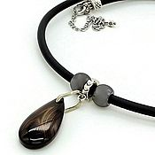 Украшения handmade. Livemaster - original item Choker with a pendant made of natural black agate. Handmade.