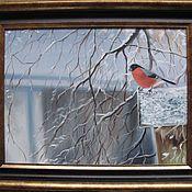 Картины ручной работы. Ярмарка Мастеров - ручная работа Снегирь. 30х40см. Handmade.