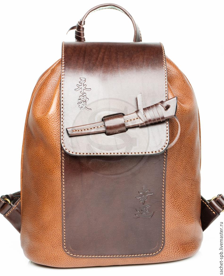 """Рюкзаки ручной работы. Ярмарка Мастеров - ручная работа. Купить Женский кожаный рюкзак """"Гейша"""" коричневый. Handmade. Коричневый"""