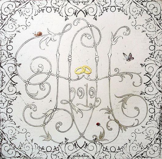Символизм ручной работы. Ярмарка Мастеров - ручная работа. Купить Свадебная монограмма. Handmade. Белый, инициалы, обручальные кольца, акварель