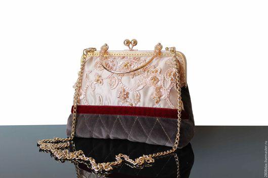 Женские сумки ручной работы. Ярмарка Мастеров - ручная работа. Купить Бархатная сумочка, старинный стиль, сумочка из бархата, бежевый. Handmade.